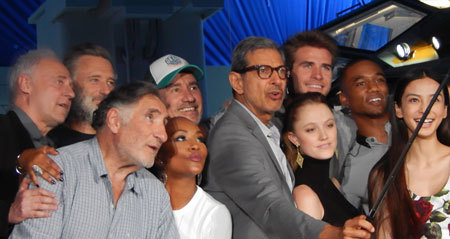 Cast selfie including Liam and Jessie (far right)