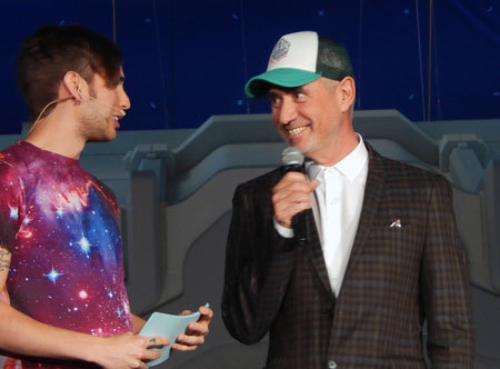 Director Roland Emmerich with interview host from VSauce3