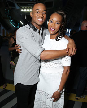 Vivica with movie son Jessie Usher