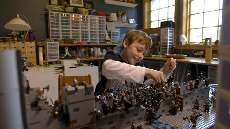 A happy kid builder