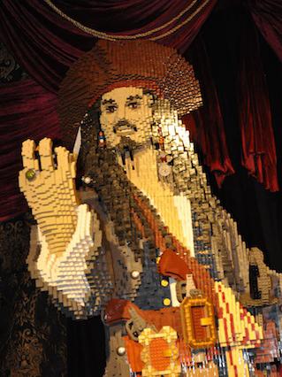 Life-sized LEGO statue of Johnny Depp as Captain Jack Sparrow