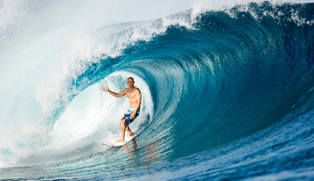 Kelly Slater surfing in Hawaii