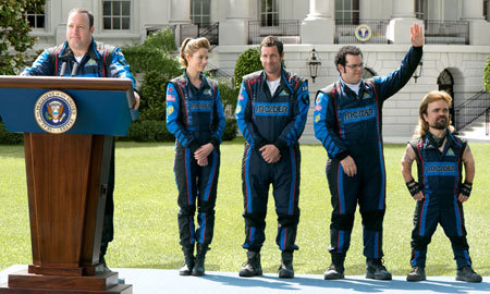 President (Kevin James) introduces the heroes