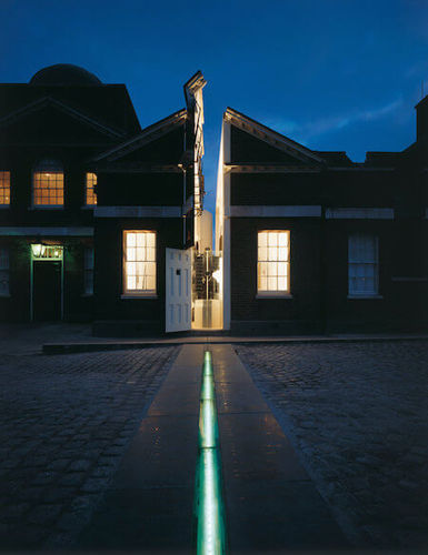 Check out the prime meridian at night!