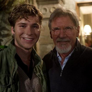 Anthony Ingruber on set with Harrison Ford