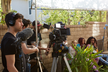 The cast of Project Mc2 shooting a scene