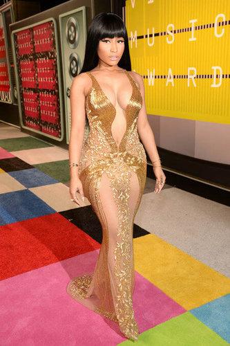Nicki Minaj looks like a queen in gold