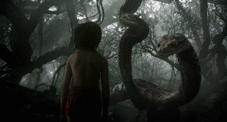 Mowgli with python Kaa (voice of Scarlett Johansson)