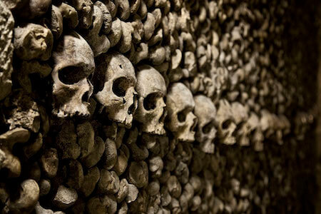 You can take tours through the Catacombs to see these bones up close!