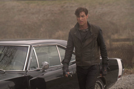 Ryan as hunter next to the Dodge Charger