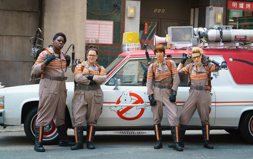 Ghostbusters with the decorated Ecto-mobile