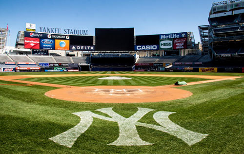 View from home plate at Yankees Stadium