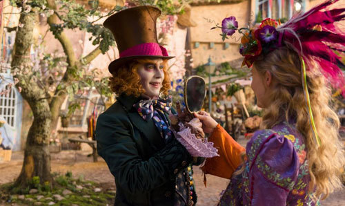Hatter presents Alice with a bonnet