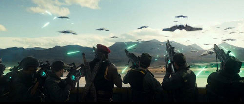 Humans fight a wave of alien ships