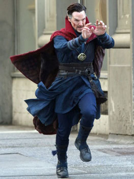 Benedict in costume running down 5th Avenue
