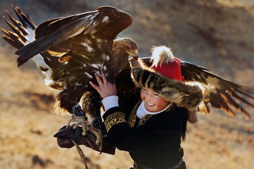 Aisholpan's eagle loves her