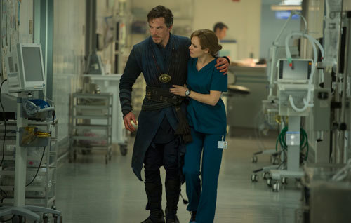 Benedict as Strange with Rachel as doctor Palmer