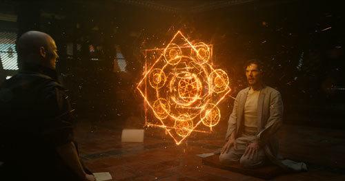 Tilda Swinton as The Ancient One teaches magic to Dr. Strange