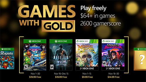 Xbox's free games coming to November's Games With Gold.