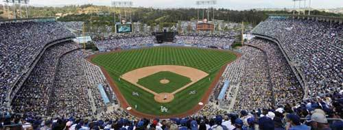 Pack crowd at Dodger Stadium