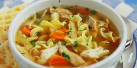 Chicken noodle soup is a classic comfort food.