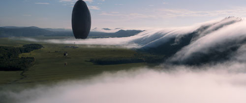 An alien ship hovers over Earth