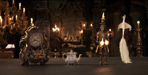The mantel clock Cogsworth, the teapot Mrs. Potts, Lumiere the candelabra and the feather duster Plumette