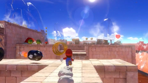 A zoomed-in look at the new Mario from the Nintendo Switch trailer.