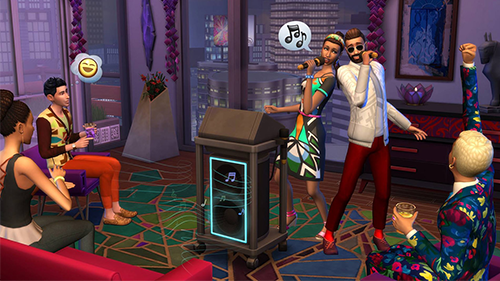 Sims hosting Sims in the new City Living Expansion Pack.