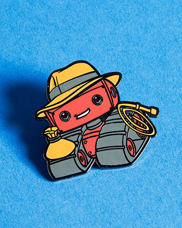 An Indiana Jones inspired version of the Geek Fuel mascot, in pin form.