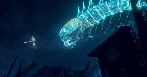 Tiny Kubo vs. the giant, glowing Moonbeast
