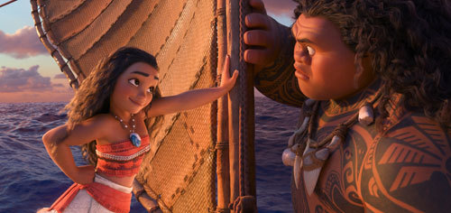 Moana tries to charm Maui into helping her on her quest