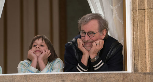 Sophie on set with director Spielberg