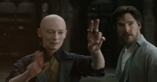 Ancient One (Tilda Swinton) demonstrates magic to Doctor Strange