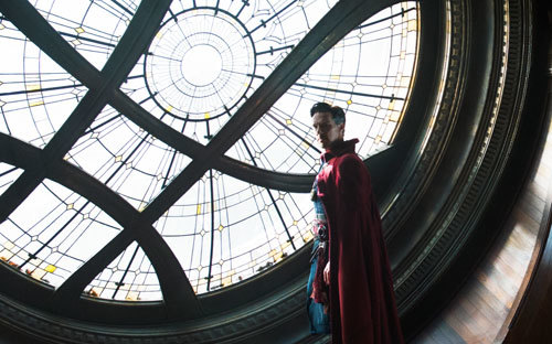 Doctor Strange in the window of the NYC Sanctum