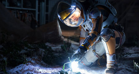 Stranded astronaut Watney grows potatos to survive