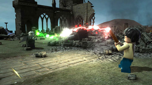 Harry Potter battles Voldemort in the close of the game.