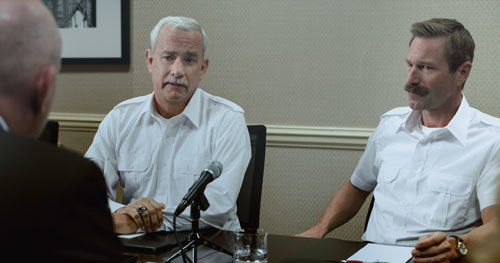 Sully and Co-Pilot Skiles at the NTSB inquiry meeting