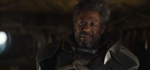 Saw Gerrera (Forest Whitaker) welcomes Jyn