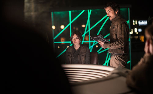Jyn and Cassian at Rebel Alliance HQ