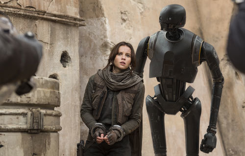 A captured Jyn with droid K-2SO