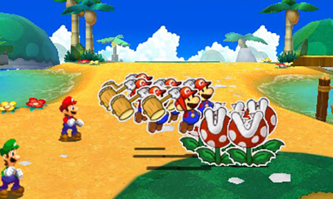 Paper Mario about to take out some Piranha Plants!