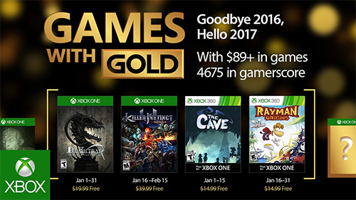 Xbox's Games With Gold for the new year.