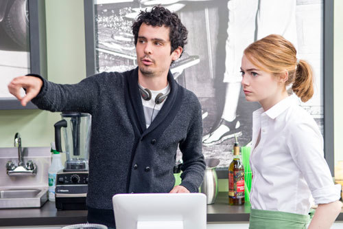 Emma with her young director Damien Chazelle