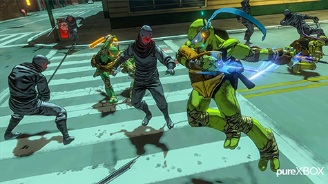 The turtles fight the Foot Clan in the streets!