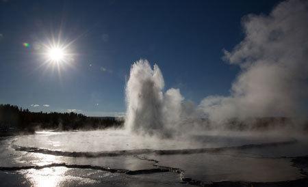 Geyser erupts in Yellowstone Park