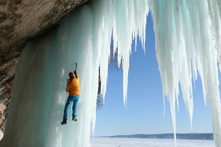 Climbing the icy waterfall
