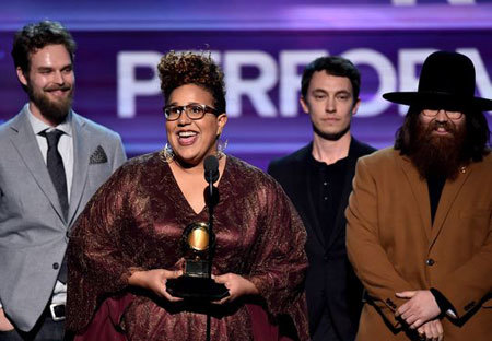 Music group Alabama Shakes accept the Best Rock Performance award for Don't Wanna Fight