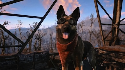 Dogmeat wearing some slick goggles and a bandana!