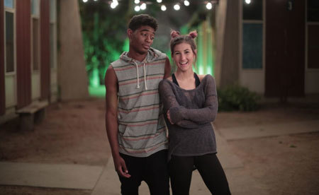 Meg and Nadji on set